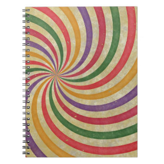 Groovy Spiral Sunbeam Ray Swirl Design Grungy Spiral Notebook