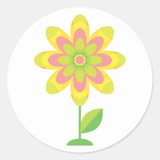 Groovy Spring Flower Classic Round Sticker