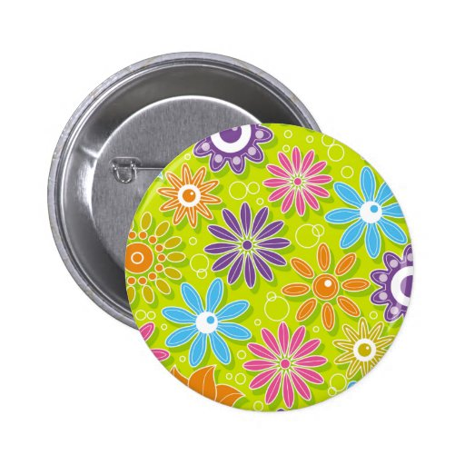 Groovy Spring Flower Power Pinback Buttons