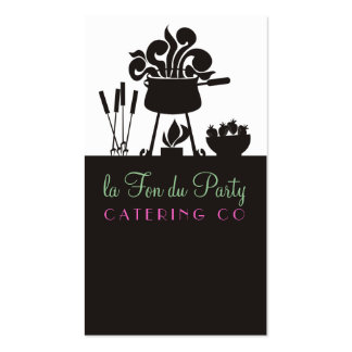 Groovy steaming fondue pot catering business cards