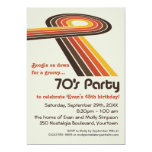 """Groovy Stripes 70s Party 5"""" X 7"""" Invitation Card"""