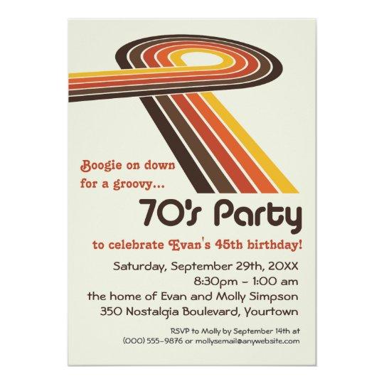 groovy stripes 70s party invitation zazzle com