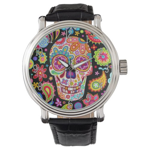 Groovy Sugar Skull Watch – Day of the Dead Art