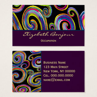 Groovy Swirls - CHANGE COLOR Business Card