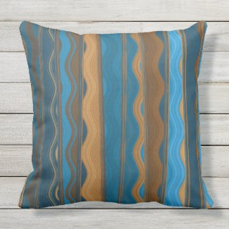 Groovy Teal, Blue, and Copper Stripe Pillow 20x20