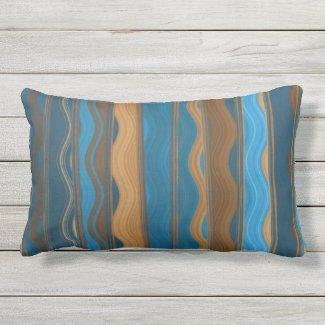 Groovy Teal, Blue, Copper Stripe Lumbar Pillow