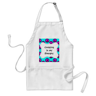 Groovy Teen Hippie Teal and Purple Peace Signs Adult Apron