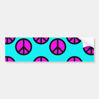 Groovy Teen Hippie Teal and Purple Peace Signs Bumper Sticker