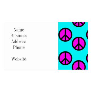 Groovy Teen Hippie Teal and Purple Peace Signs Business Card Templates