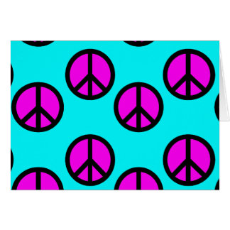 Groovy Teen Hippie Teal and Purple Peace Signs Card