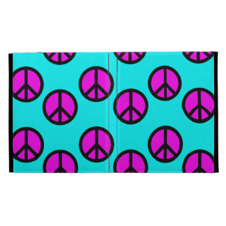 Groovy Teen Hippie Teal and Purple Peace Signs iPad Folio Cases