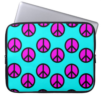 Groovy Teen Hippie Teal and Purple Peace Signs Computer Sleeve