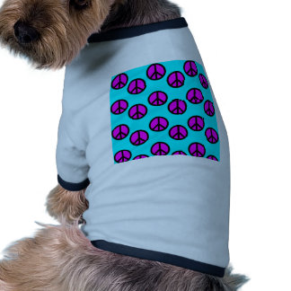 Groovy Teen Hippie Teal and Purple Peace Signs Dog Tshirt