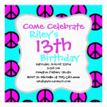 Groovy Teen Hippie Teal and Purple Peace Signs Invites
