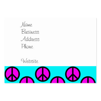 Groovy Teen Hippie Teal and Purple Peace Signs Large Business Card