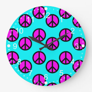 Groovy Teen Hippie Teal and Purple Peace Signs Large Clock