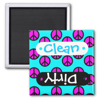 Groovy Teen Hippie Teal and Purple Peace Signs Magnet