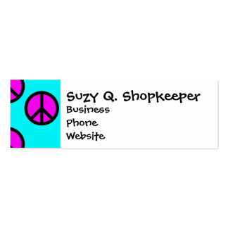 Groovy Teen Hippie Teal and Purple Peace Signs Mini Business Card