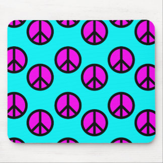 Groovy Teen Hippie Teal and Purple Peace Signs Mouse Pad