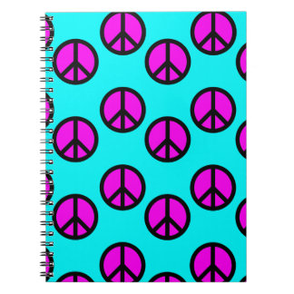 Groovy Teen Hippie Teal and Purple Peace Signs Spiral Notebooks