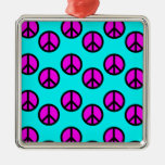 Groovy Teen Hippie Teal and Purple Peace Signs Christmas Ornament