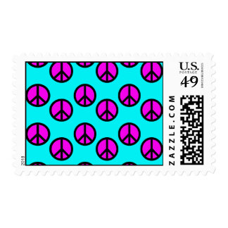 Groovy Teen Hippie Teal and Purple Peace Signs Postage