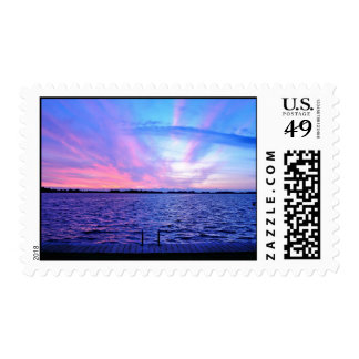 Groovy Themed, Pink, Purple, And Blue With Reflect Postage Stamp