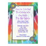 Groovy Tie Dye Happy Birthday Party Invitation