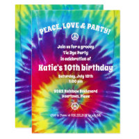 Groovy Tie Dye Hippie Party Invitation