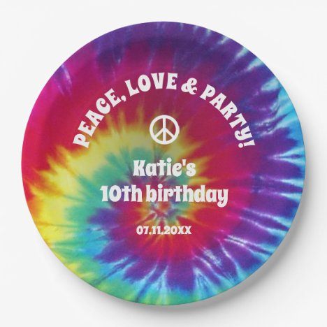 Groovy Tie Dye Hippie Party Paper Plate