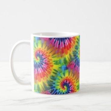 Coffee Themed Groovy Tie Dye Hippie Style Mug
