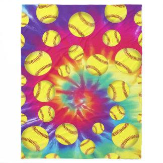 Groovy Tie Dye Softball Throw Blanket