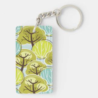 Groovy Tree Design Blue & Green Keychain