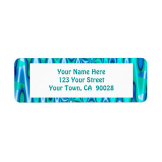 groovy turquoise blue return address label