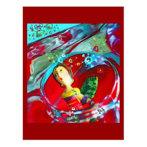groovy UFO Girl, abstract art Postcard Post Card