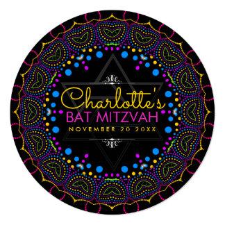 Groovy UV Bohemian Bat Mitzvah Round Invitation