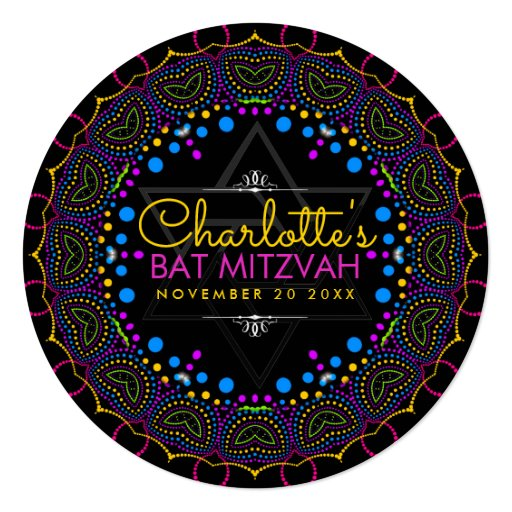 Groovy UV Bohemian Bat Mitzvah Round Invitation