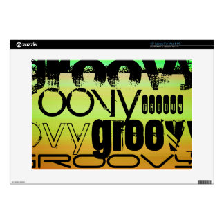 Groovy; Vibrant Green, Orange, & Yellow Decal For Laptop