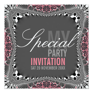 "Groovy Vintage Damask Special Party Invitations 5.25"" Square Invitation Card"