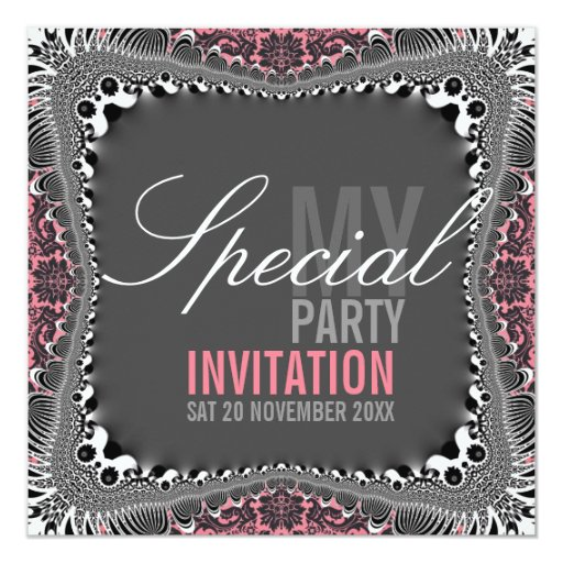 Groovy Vintage Damask Special Party Invitations