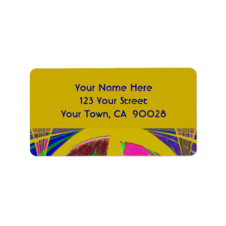 groovy yellow abstract address label