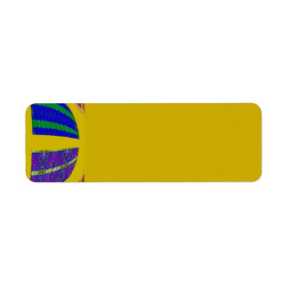 groovy yellow abstract return address label