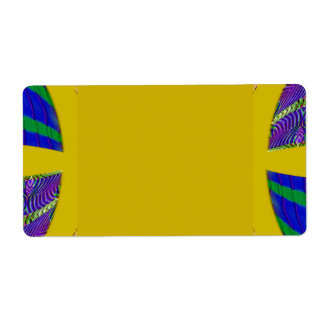 groovy yellow abstract shipping label