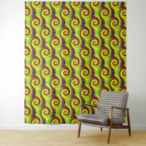 Groovy Yellow and Brown Swirl Tapestry