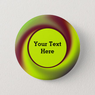 Groovy Yellow Brown Swirl Abstract Button