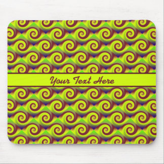 Groovy Yellow Brown Swirl Abstract Mouse Pad