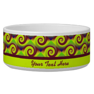Groovy Yellow Brown Swirl Abstract Pattern Bowl