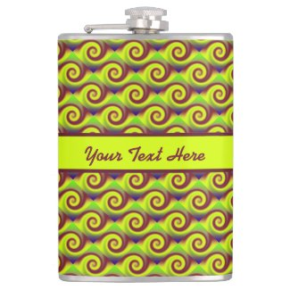 Groovy Yellow Brown Swirl Abstract Pattern Hip Flask