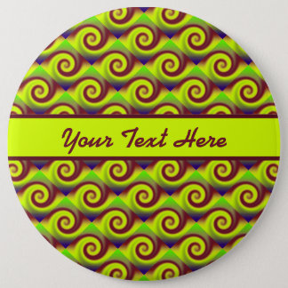 Groovy Yellow Brown Swirl Abstract Pinback Button