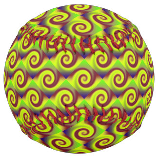 Groovy Yellow Brown Swirl Abstract Softball